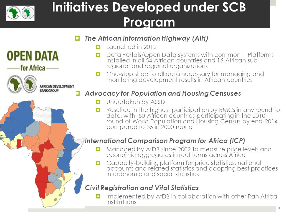 Initiatives Developed under SCB Program (cont.)  Africa Infrastructure Knowledge Program (AIKP)  Adopts a longer-term perspective in providing a framework for generating country-level knowledge on infrastructure on a more sustainable basis  Provides benchmarks for measuring improvements in infrastructure services to ensure that finances are directed where they will have the greatest impact  Labor Statistics: the Bank assists RMCs to improve their labor statistics through:  operational and methodological guidebooks for conducting labor force and household surveys  Assisting countries with the undertaking of labor surveys and labor statistics classifications  Providing training for African sampling statisticians  Improving Data on Food Security, Sustainable Agricultural and Rural Development  Under the Global Strategy for Improving Statistics for Food Security, Sustainable Agriculture & Rural Development, the Action Plan for Africa was formulated by AfDB, UNECA, & the FAO  Rebasing of GDP & reviews  Several countries already assisted with GDP rebasing by AfDB in collaboration with the World Bank and IMF, with 35 countries due to rebase in the near future  Peer review of national accounts  Preparation of Country Statistical Profile (CStP)  diagnostic and programming tool for evaluating the national and sector development strategies 10