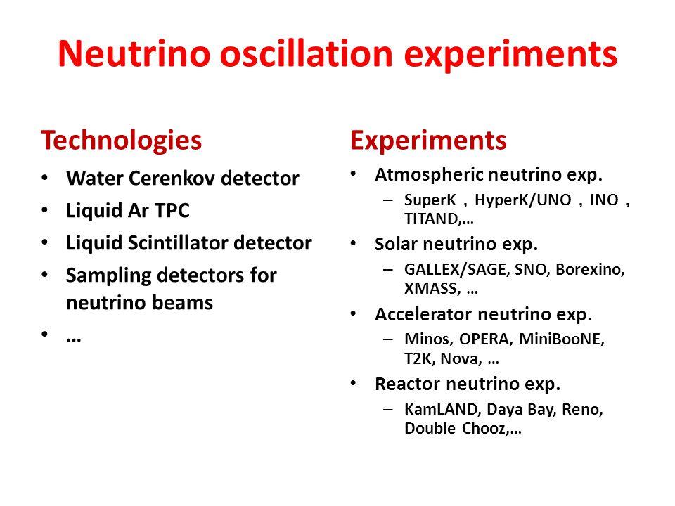 Neutrino oscillation experiments Technologies Water Cerenkov detector Liquid Ar TPC Liquid Scintillator detector Sampling detectors for neutrino beams