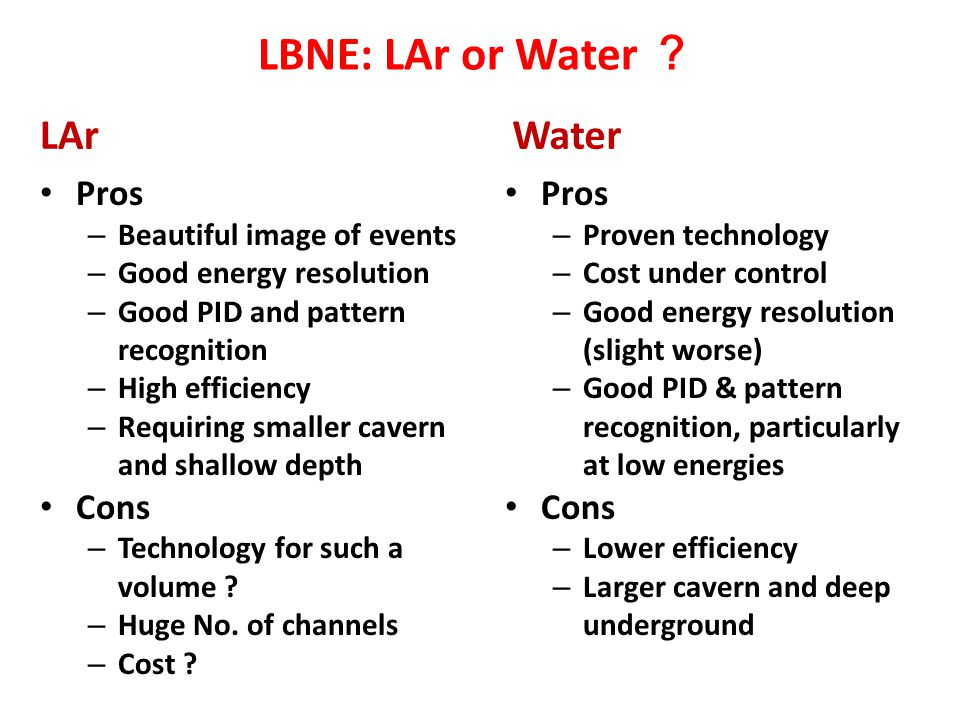 LBNE: LAr or Water ? Water Pros – Proven technology – Cost under control – Good energy resolution (slight worse) – Good PID & pattern recognition, par