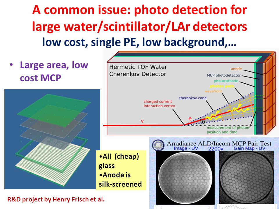 A common issue: photo detection for large water/scintillator/LAr detectors low cost, single PE, low background,… Large area, low cost MCP All (cheap)