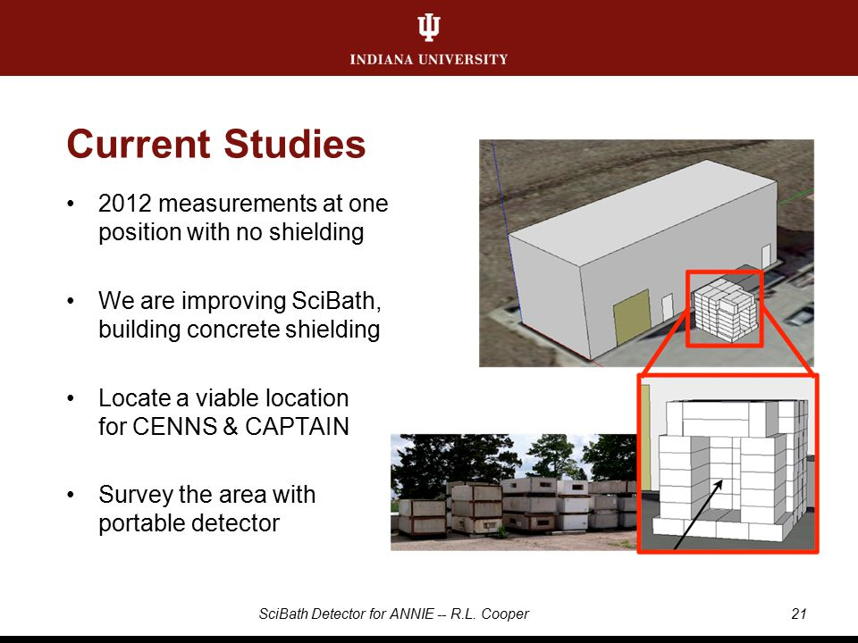 Current Studies 2012 measurements at one position with no shielding We are improving SciBath, building concrete shielding Locate a viable location for CENNS & CAPTAIN Survey the area with portable detector 21SciBath Detector for ANNIE -- R.L.