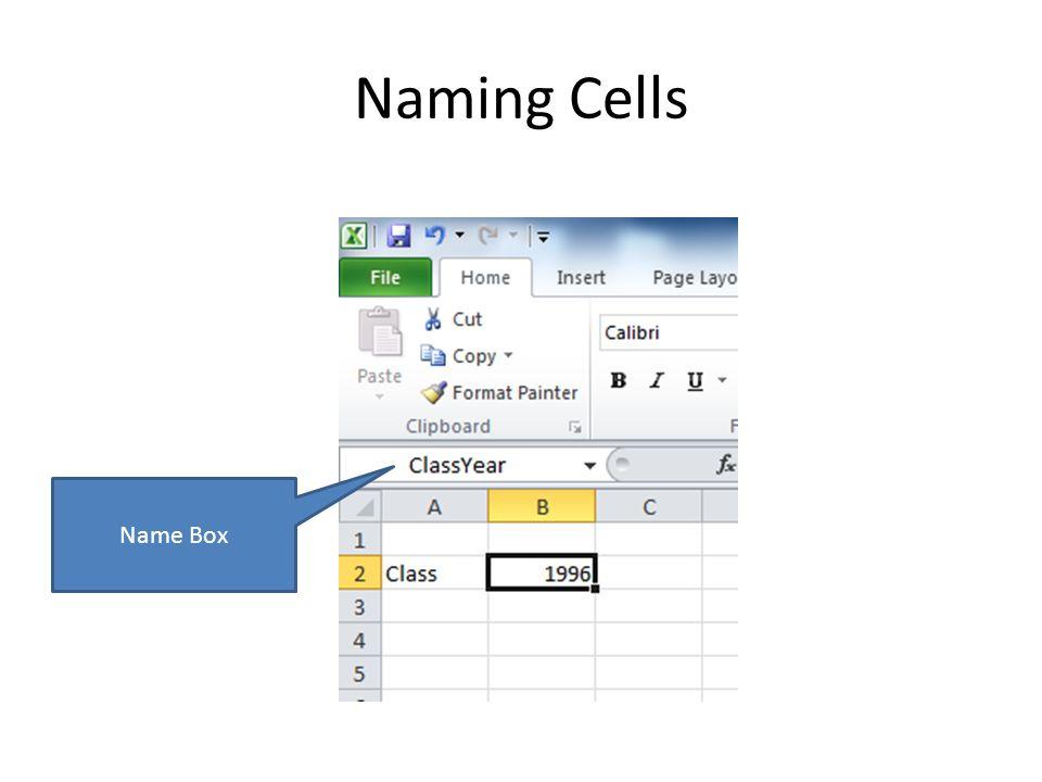 Naming Cells Name Box