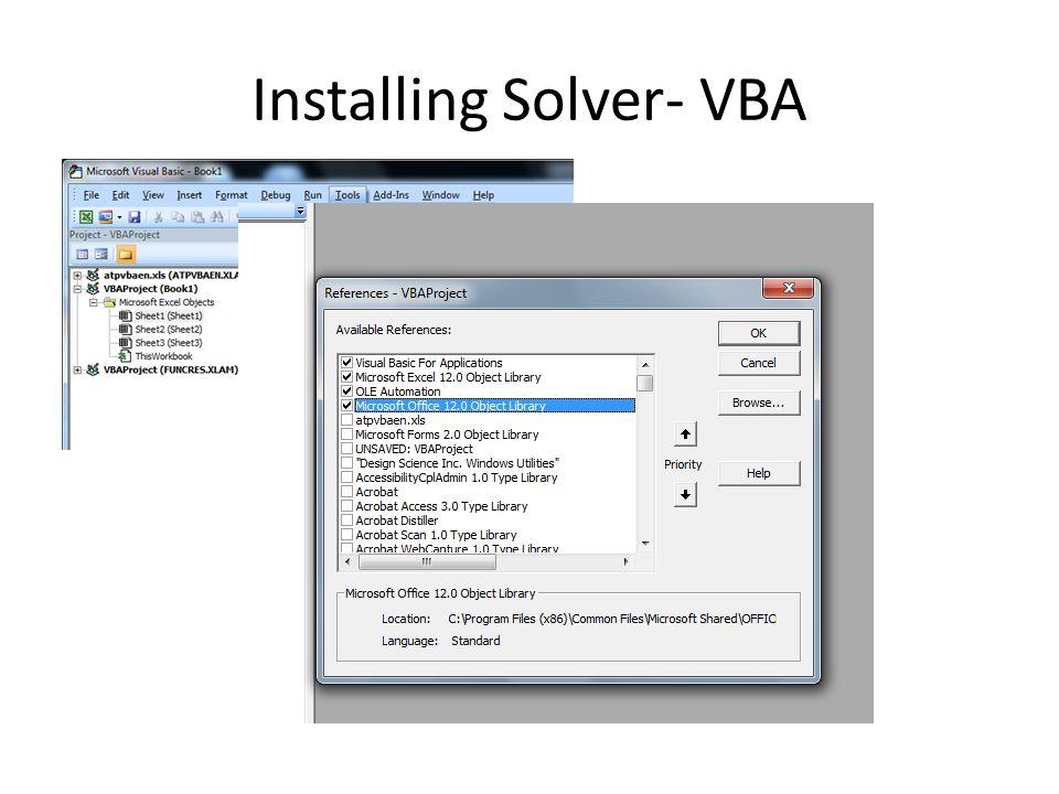 Installing Solver- VBA