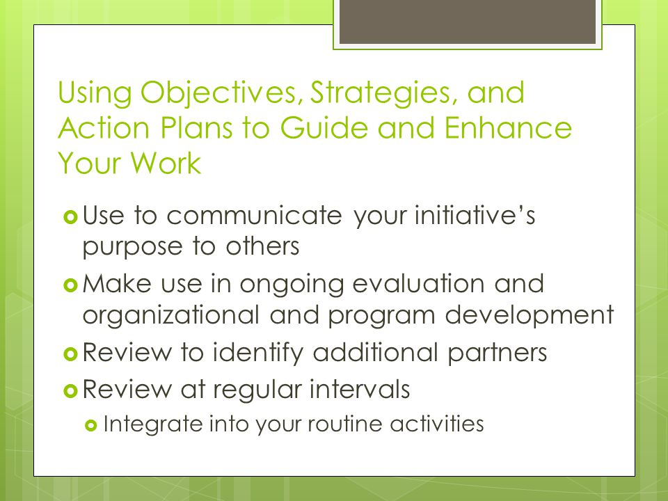 Using Objectives, Strategies, and Action Plans to Guide and Enhance Your Work  Use to communicate your initiative's purpose to others  Make use in ongoing evaluation and organizational and program development  Review to identify additional partners  Review at regular intervals  Integrate into your routine activities