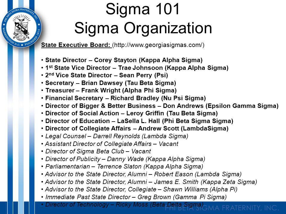 Sigma 101 Sigma Organization State Executive Board: (http://www.georgiasigmas.com/) State Director – Corey Stayton (Kappa Alpha Sigma) 1 st State Vice
