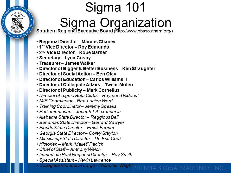 Sigma 101 Sigma Organization Southern Regional Executive Board (http://www.pbssouthern.org/) Regional Director – Marcus Chaney 1 st Vice Director – Ro