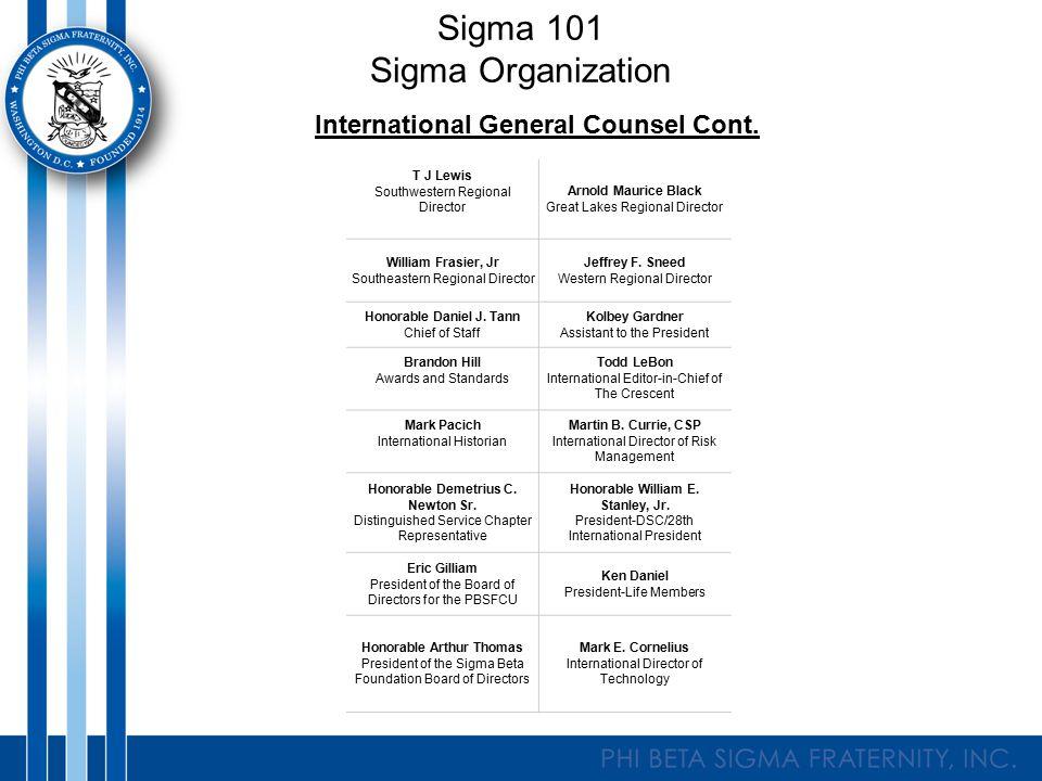 Sigma 101 Sigma Organization International General Counsel Cont.