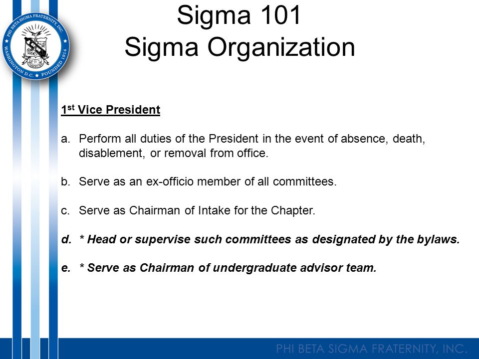 Sigma 101 Sigma Organization Treasurer a.Shall receive all funds on behalf of The Chapter.