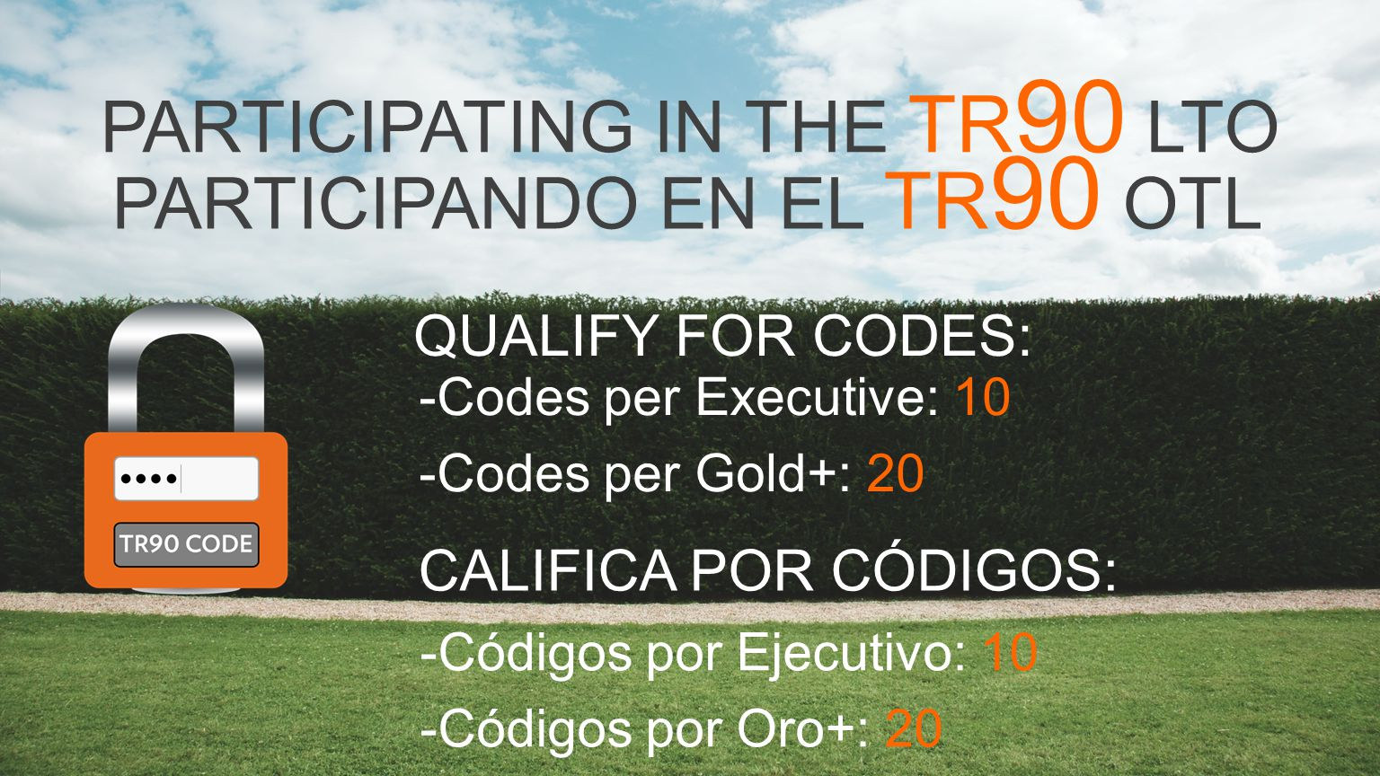 -Codes per Executive: 10 -Codes per Gold+: 20 PARTICIPATING IN THE TR 90 LTO QUALIFY FOR CODES: PARTICIPANDO EN EL TR 90 OTL CALIFICA POR CÓDIGOS: -Códigos por Ejecutivo: 10 -Códigos por Oro+: 20