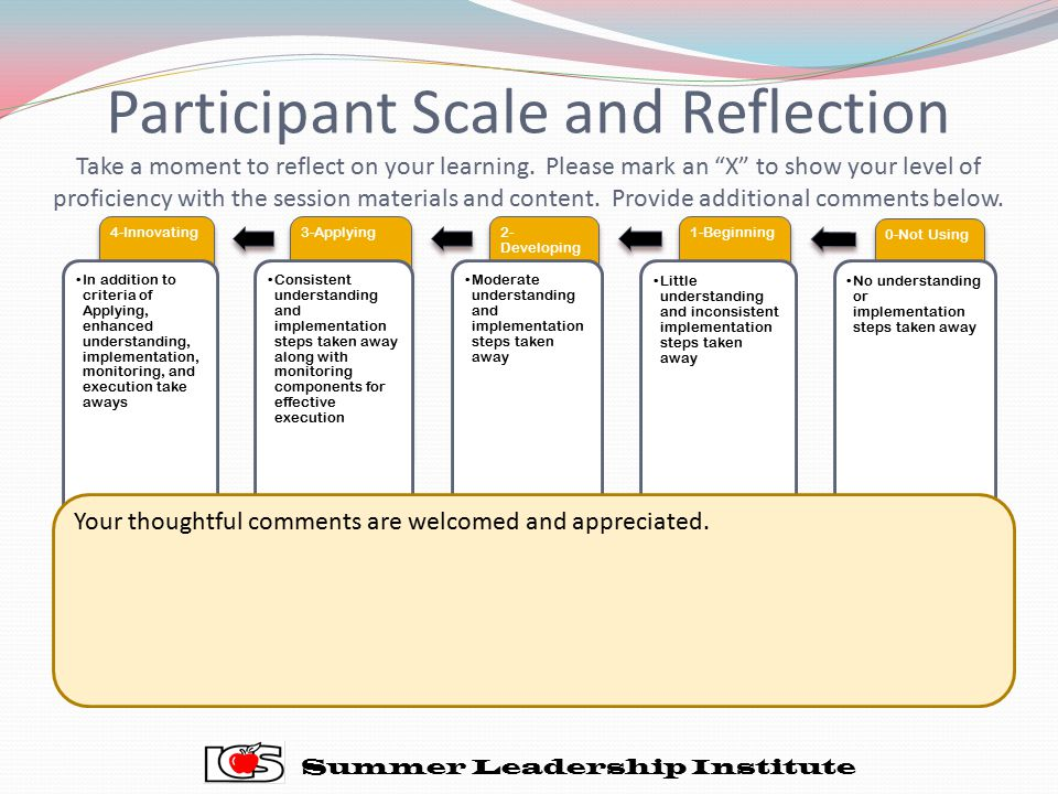 "Participant Scale and Reflection Take a moment to reflect on your learning. Please mark an ""X"" to show your level of proficiency with the session mate"