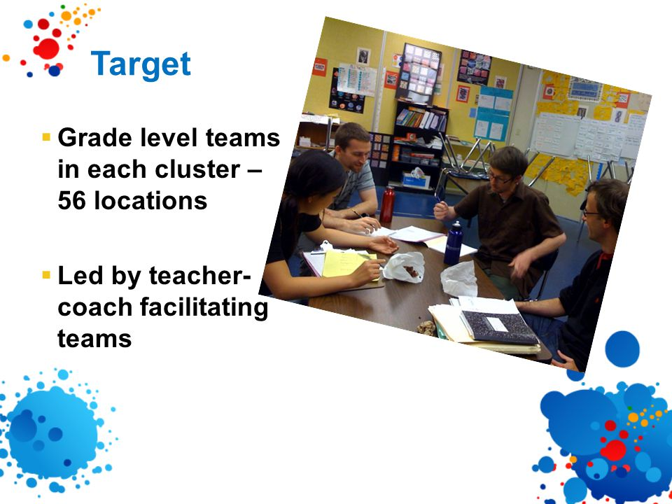 Target  Grade level teams in each cluster – 56 locations  Led by teacher- coach facilitating teams