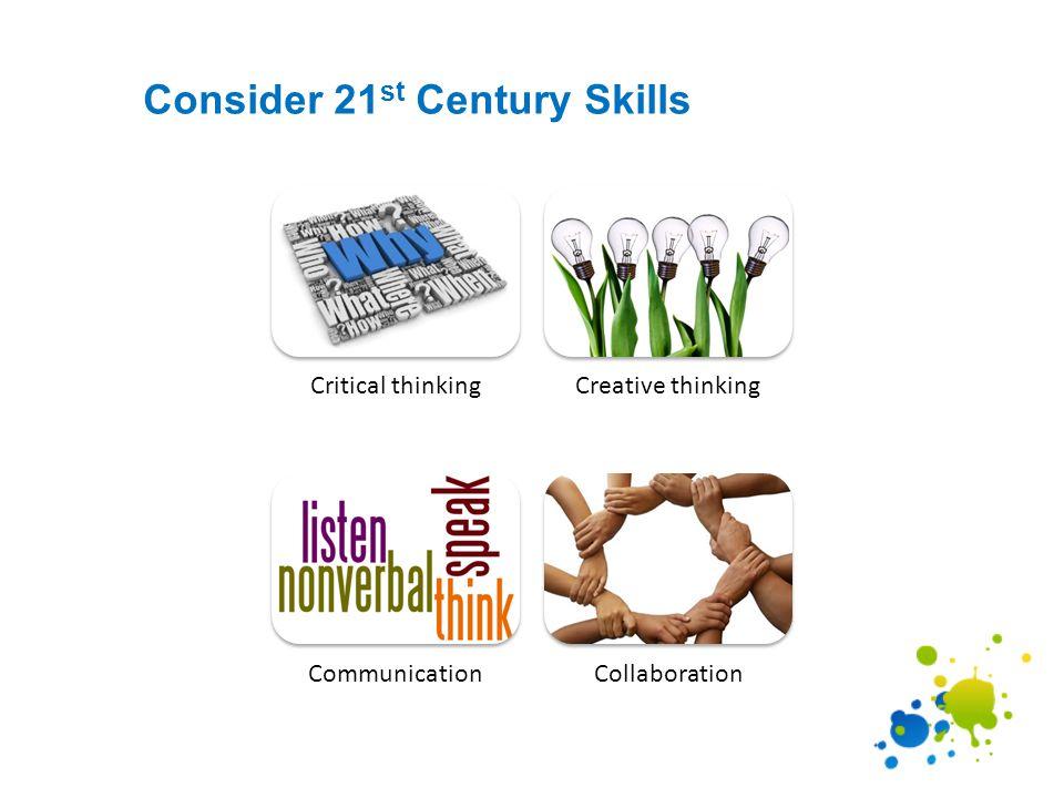 Consider 21 st Century Skills Critical thinkingCreative thinking CommunicationCollaboration