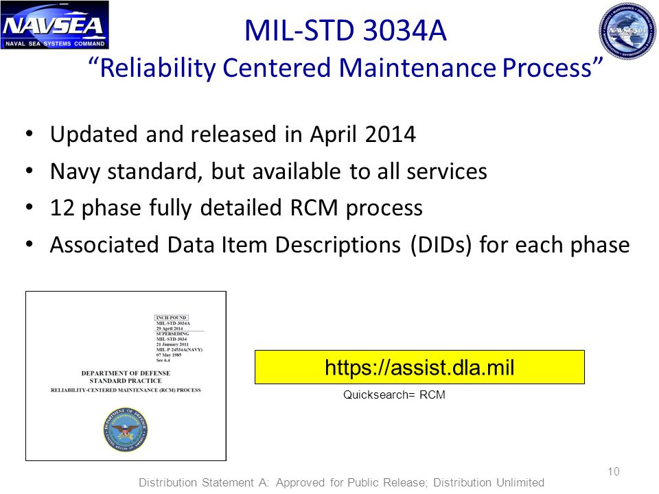 "MIL-STD 3034A ""Reliability Centered Maintenance Process"" Updated and released in April 2014 Navy standard, but available to all services 12 phase full"