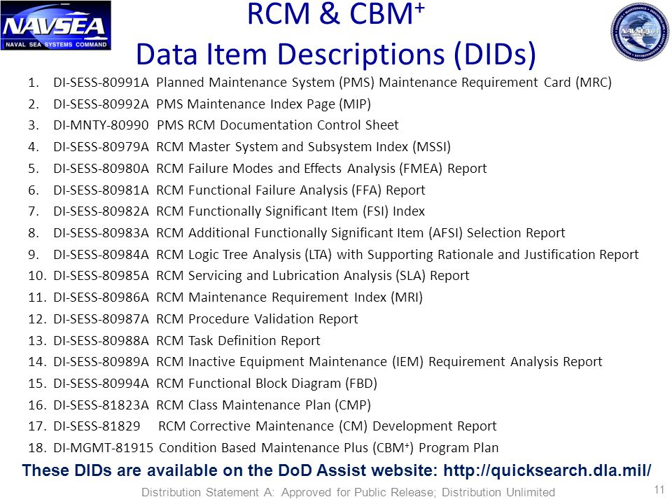 RCM & CBM + Data Item Descriptions (DIDs) 1.DI-SESS-80991A Planned Maintenance System (PMS) Maintenance Requirement Card (MRC) 2.DI-SESS-80992A PMS Maintenance Index Page (MIP) 3.DI-MNTY-80990 PMS RCM Documentation Control Sheet 4.DI-SESS-80979A RCM Master System and Subsystem Index (MSSI) 5.DI-SESS-80980A RCM Failure Modes and Effects Analysis (FMEA) Report 6.DI-SESS-80981A RCM Functional Failure Analysis (FFA) Report 7.DI-SESS-80982A RCM Functionally Significant Item (FSI) Index 8.DI-SESS-80983A RCM Additional Functionally Significant Item (AFSI) Selection Report 9.DI-SESS-80984A RCM Logic Tree Analysis (LTA) with Supporting Rationale and Justification Report 10.DI-SESS-80985A RCM Servicing and Lubrication Analysis (SLA) Report 11.DI-SESS-80986A RCM Maintenance Requirement Index (MRI) 12.DI-SESS-80987A RCM Procedure Validation Report 13.DI-SESS-80988A RCM Task Definition Report 14.DI-SESS-80989A RCM Inactive Equipment Maintenance (IEM) Requirement Analysis Report 15.DI-SESS-80994A RCM Functional Block Diagram (FBD) 16.DI-SESS-81823A RCM Class Maintenance Plan (CMP) 17.DI-SESS-81829 RCM Corrective Maintenance (CM) Development Report 18.DI-MGMT-81915 Condition Based Maintenance Plus (CBM + ) Program Plan These DIDs are available on the DoD Assist website: http://quicksearch.dla.mil/ 11 Distribution Statement A: Approved for Public Release; Distribution Unlimited