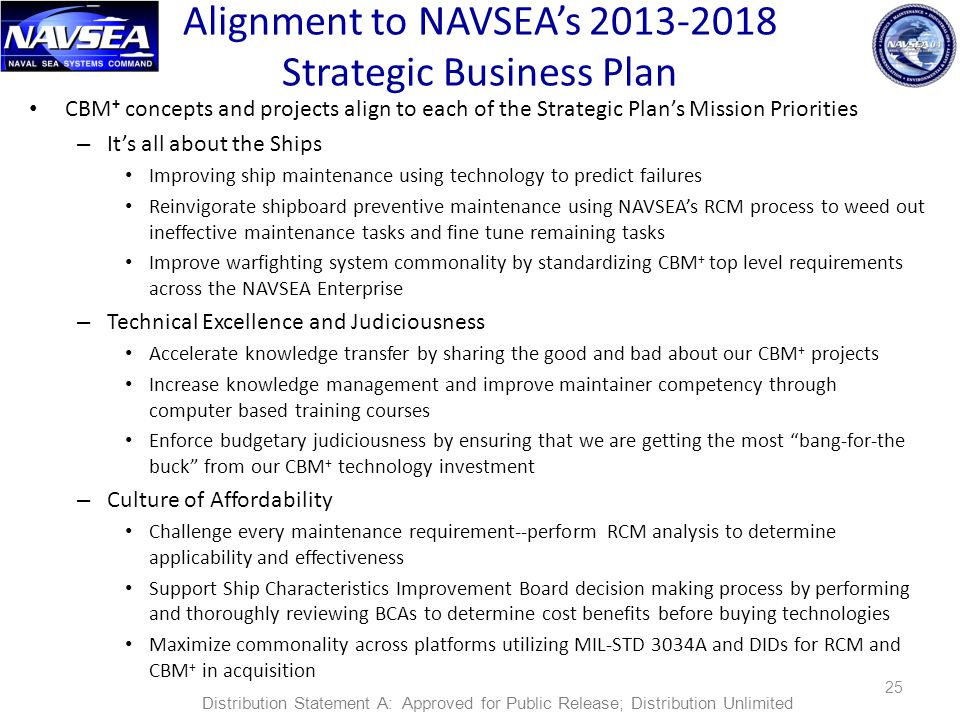 Alignment to NAVSEA's 2013-2018 Strategic Business Plan CBM + concepts and projects align to each of the Strategic Plan's Mission Priorities – It's all about the Ships Improving ship maintenance using technology to predict failures Reinvigorate shipboard preventive maintenance using NAVSEA's RCM process to weed out ineffective maintenance tasks and fine tune remaining tasks Improve warfighting system commonality by standardizing CBM + top level requirements across the NAVSEA Enterprise – Technical Excellence and Judiciousness Accelerate knowledge transfer by sharing the good and bad about our CBM + projects Increase knowledge management and improve maintainer competency through computer based training courses Enforce budgetary judiciousness by ensuring that we are getting the most bang-for-the buck from our CBM + technology investment – Culture of Affordability Challenge every maintenance requirement--perform RCM analysis to determine applicability and effectiveness Support Ship Characteristics Improvement Board decision making process by performing and thoroughly reviewing BCAs to determine cost benefits before buying technologies Maximize commonality across platforms utilizing MIL-STD 3034A and DIDs for RCM and CBM + in acquisition 25 Distribution Statement A: Approved for Public Release; Distribution Unlimited