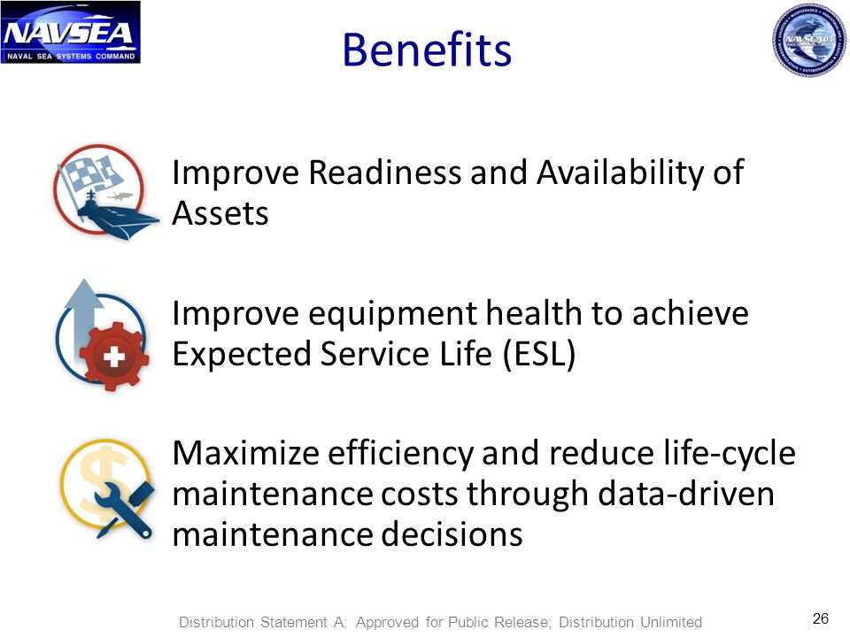 Benefits Improve Readiness and Availability of Assets Improve equipment health to achieve Expected Service Life (ESL) Maximize efficiency and reduce life-cycle maintenance costs through data-driven maintenance decisions 26 Distribution Statement A: Approved for Public Release; Distribution Unlimited