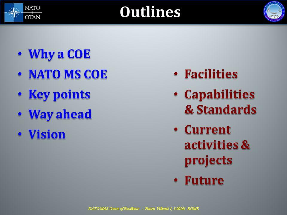NATO M&S Centre of Excellence - Piazza Villoresi 1, I-00141 ROME WHY A COE.