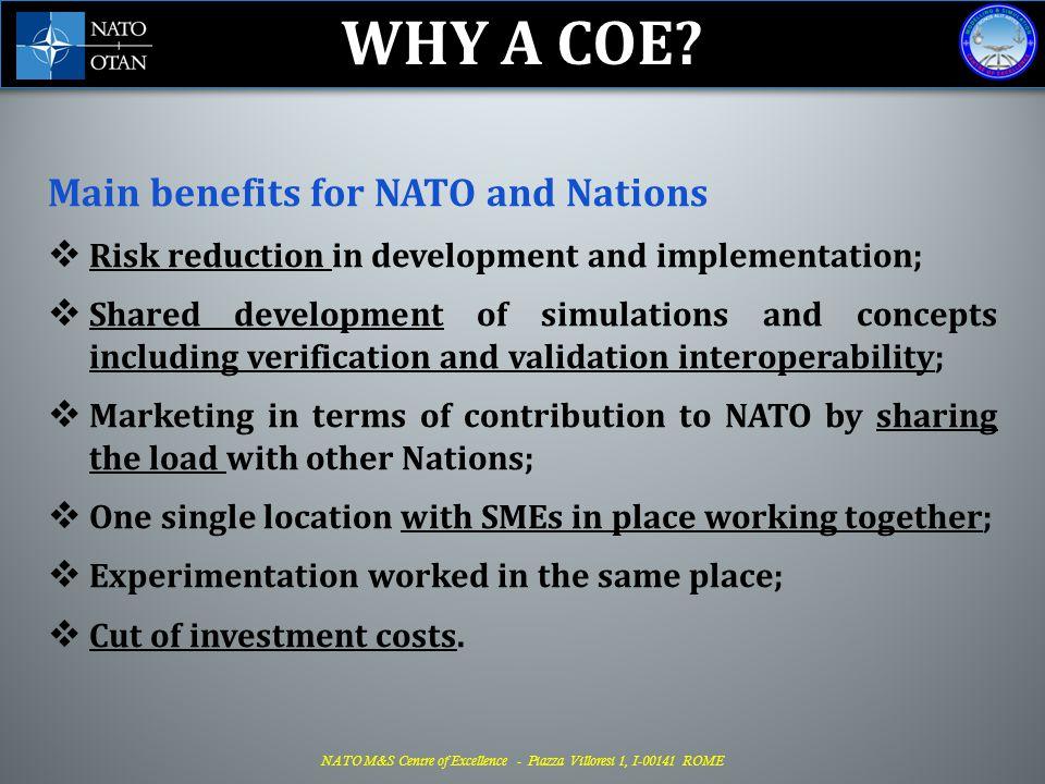 NATO M&S Centre of Excellence - Piazza Villoresi 1, I-00141 ROME NATO Modelling & Simulation Centre of Excellence Piazza Villoresi, 1 – 00141 Rome (Italy)