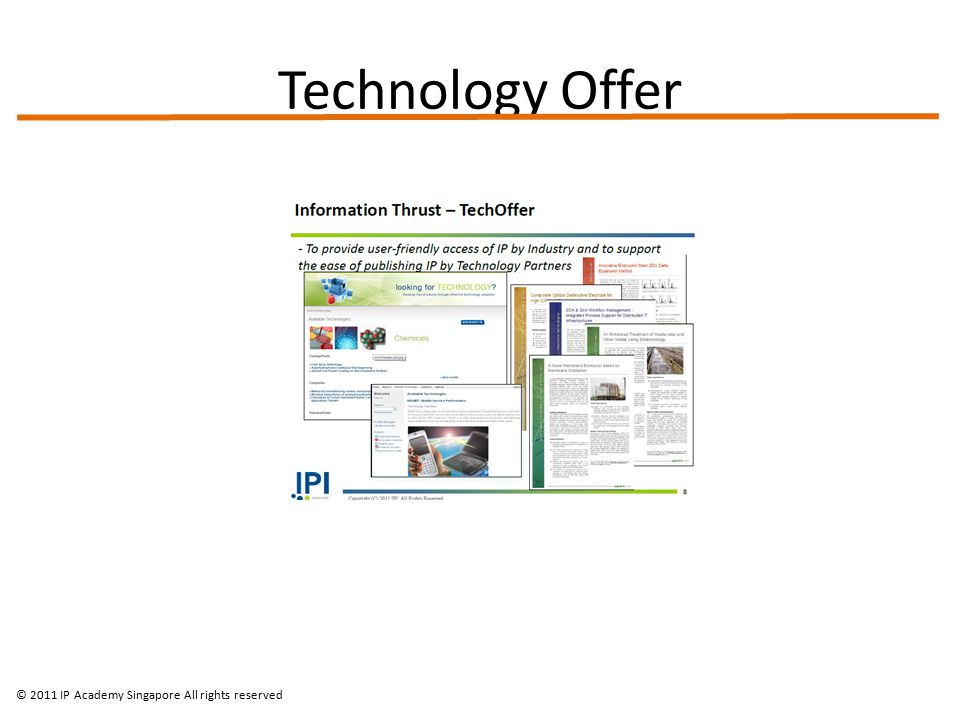 Technology Offer © 2011 IP Academy Singapore All rights reserved