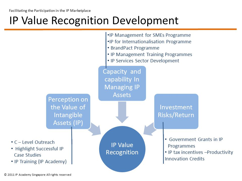 Facilitating the Participation in the IP Marketplace IP Value Recognition Development IP Value Recognition Perception on the Value of Intangible Assets (IP) Capacity and capability In Managing IP Assets Investment Risks/Return IP Management for SMEs Programme IP for Internationalisation Programme BrandPact Programme IP Management Training Programmes IP Services Sector Development Government Grants in IP Programmes IP tax incentives –Productivity Innovation Credits C – Level Outreach Highlight Successful IP Case Studies IP Training (IP Academy) © 2011 IP Academy Singapore All rights reserved