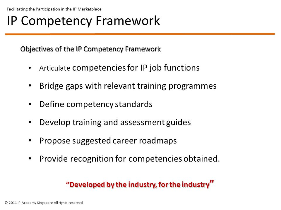 Objectives of the IP Competency Framework Articulate competencies for IP job functions Bridge gaps with relevant training programmes Define competency standards Develop training and assessment guides Propose suggested career roadmaps Provide recognition for competencies obtained.