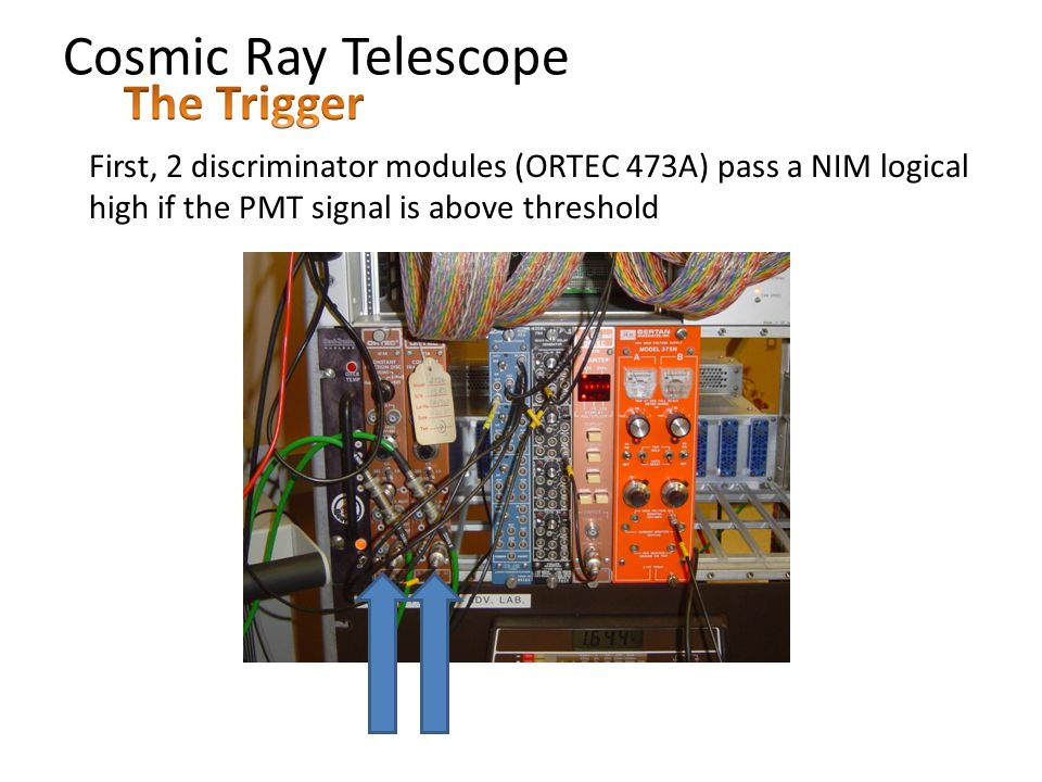 Cosmic Ray Telescope First, 2 discriminator modules (ORTEC 473A) pass a NIM logical high if the PMT signal is above threshold