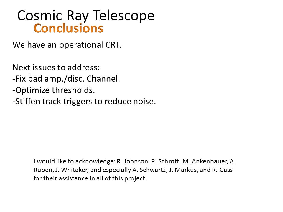 Cosmic Ray Telescope We have an operational CRT. Next issues to address: -Fix bad amp./disc.