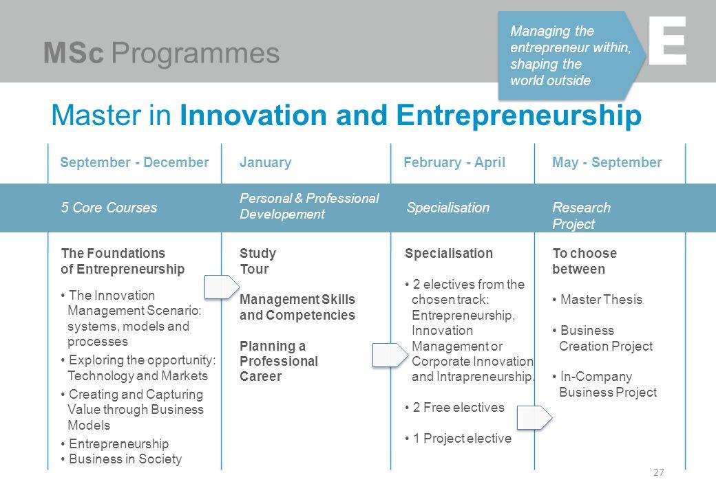 Master in Innovation and Entrepreneurship 27 Managing the entrepreneur within, shaping the world outside MSc Programmes January Study Tour Management