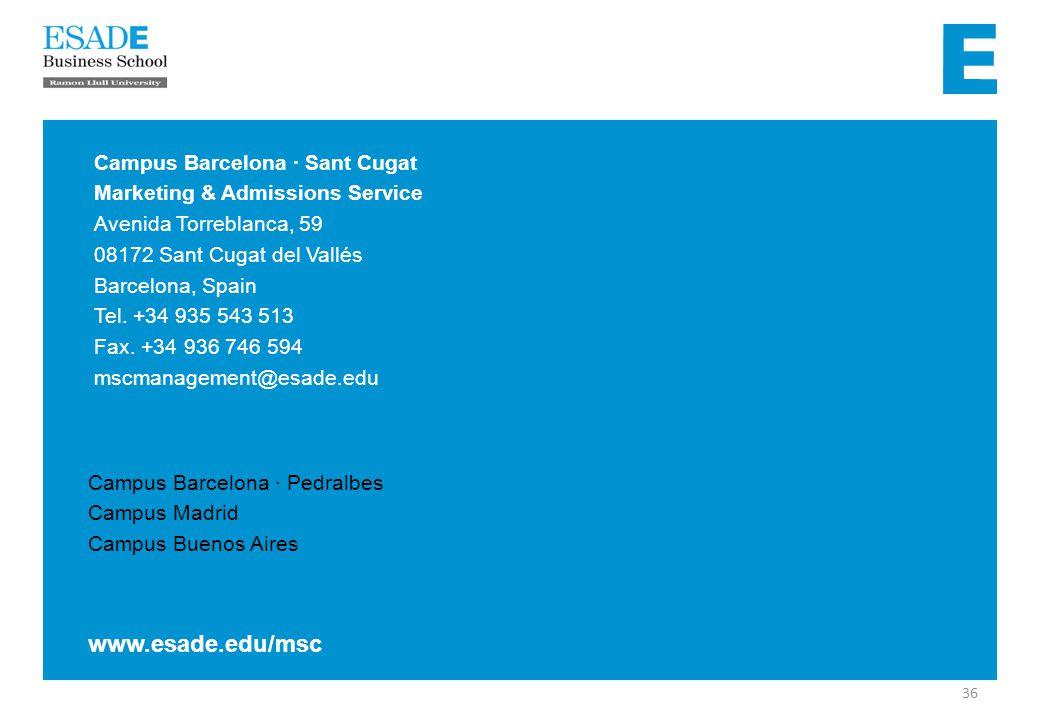 Campus Barcelona · Pedralbes Campus Madrid Campus Buenos Aires Campus Barcelona · Sant Cugat Marketing & Admissions Service Avenida Torreblanca, 59 08172 Sant Cugat del Vallés Barcelona, Spain Tel.
