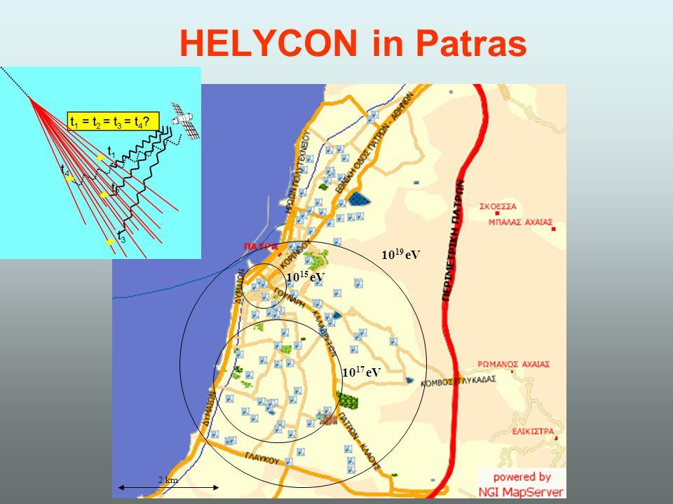 HELYCON in Patras 10 19 eV 10 17 eV 10 15 eV 2 km