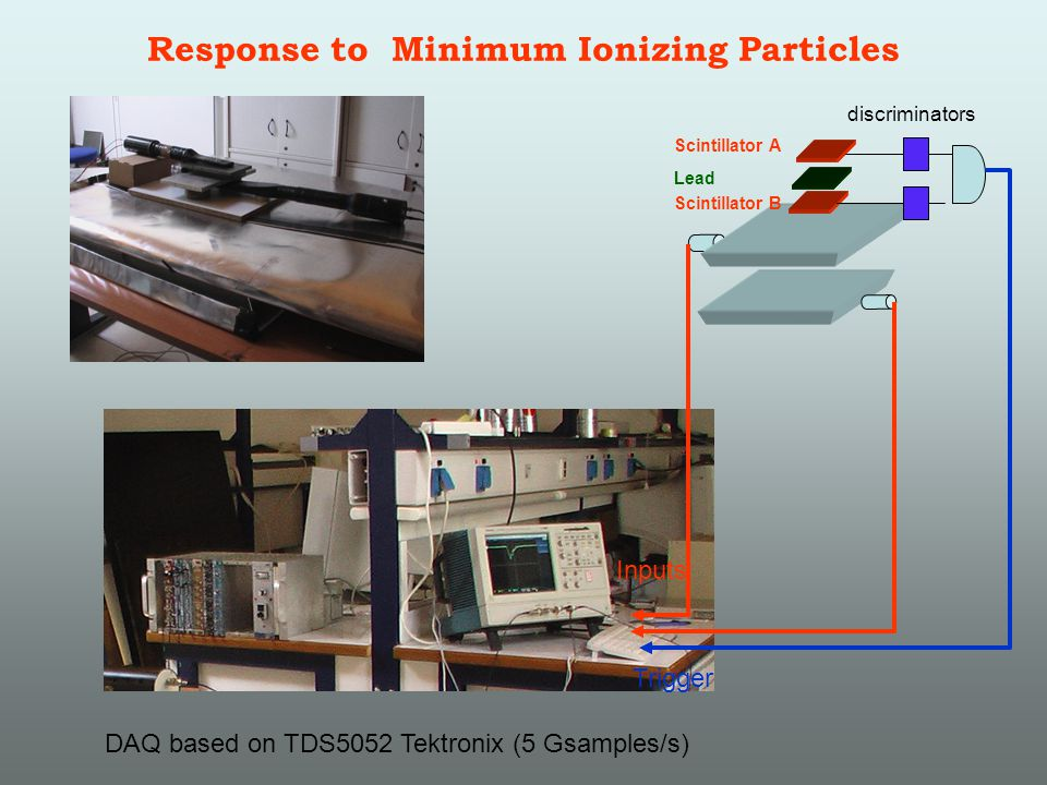 Response to Minimum Ionizing Particles Scintillator A Scintillator B Lead DAQ based on TDS5052 Tektronix (5 Gsamples/s) discriminators Inputs Trigger