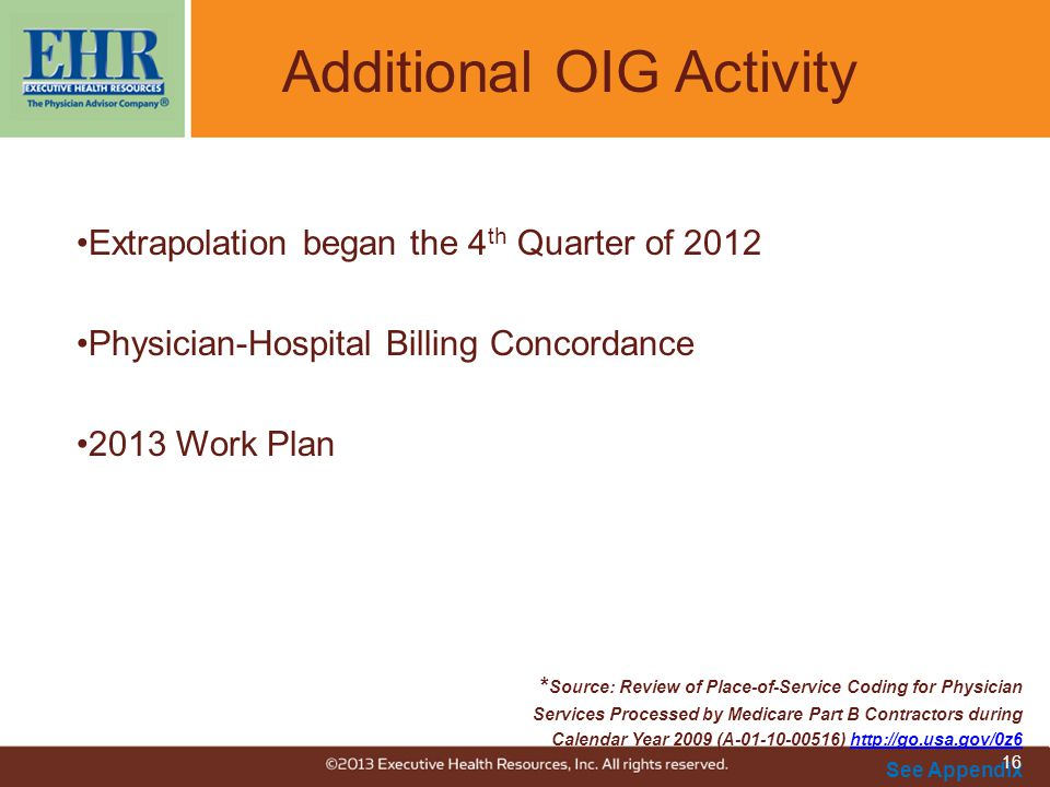 Additional OIG Activity Extrapolation began the 4 th Quarter of 2012 Physician-Hospital Billing Concordance 2013 Work Plan * Source: Review of Place-o