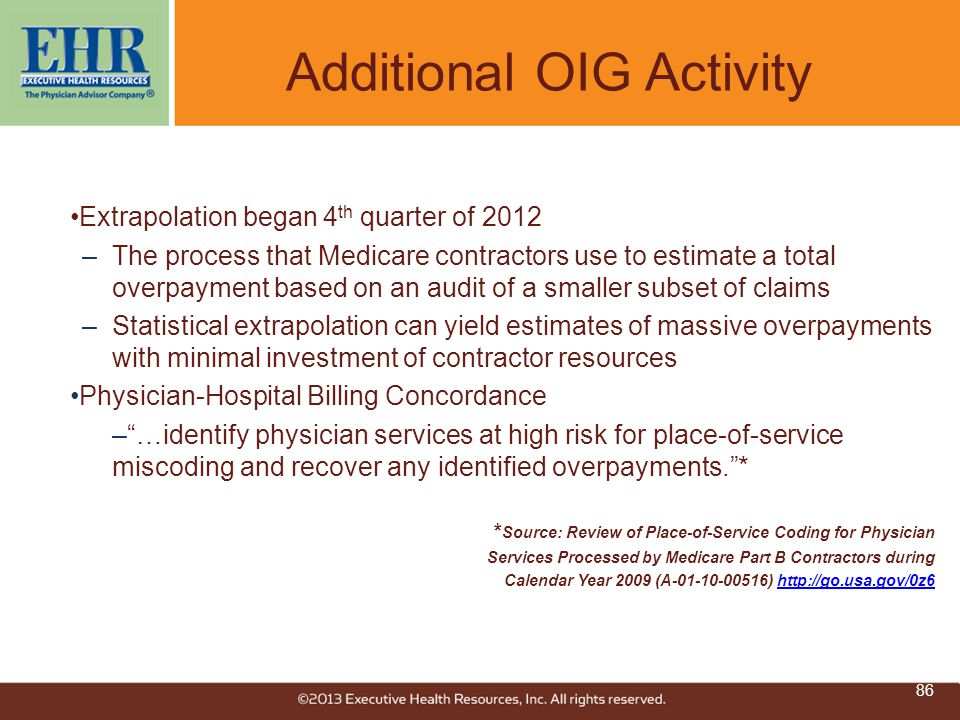 Additional OIG Activity Extrapolation began 4 th quarter of 2012 –The process that Medicare contractors use to estimate a total overpayment based on a