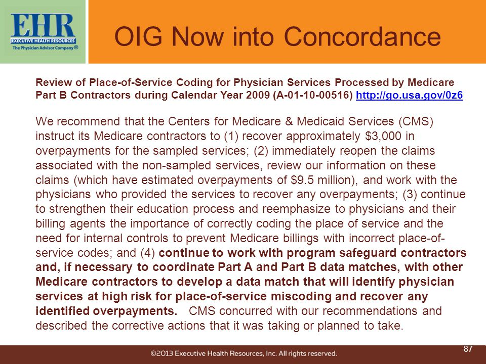 OIG Now into Concordance Review of Place-of-Service Coding for Physician Services Processed by Medicare Part B Contractors during Calendar Year 2009 (