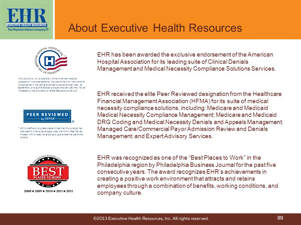 """About Executive Health Resources EHR was recognized as one of the """"Best Places to Work"""" in the Philadelphia region by Philadelphia Business Journal fo"""