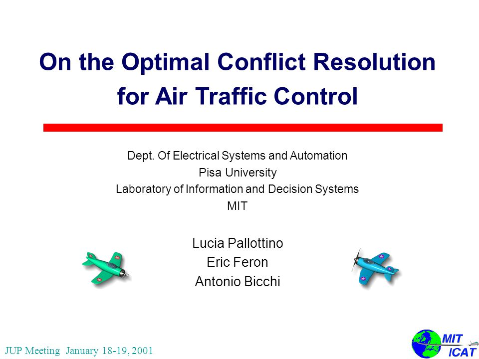 On the Optimal Conflict Resolution for Air Traffic Control Dept.