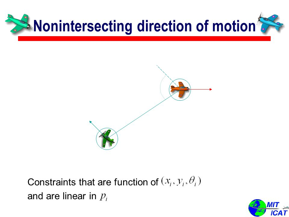 Nonintersecting direction of motion Constraints that are function of and are linear in