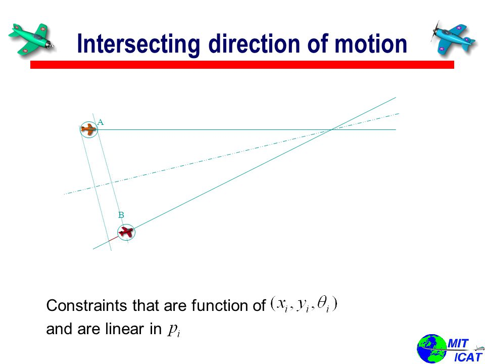 Intersecting direction of motion A B B Constraints that are function of and are linear in