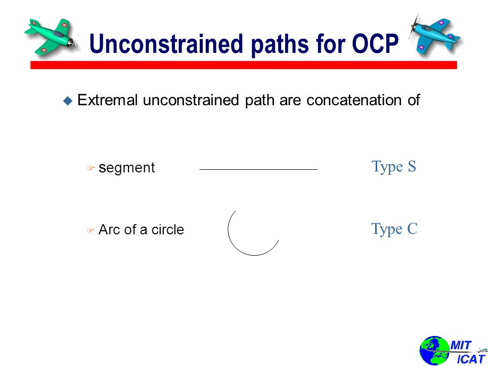u Extremal unconstrained path are concatenation of F s egment F Arc of a circle Unconstrained paths for OCP Type S Type C