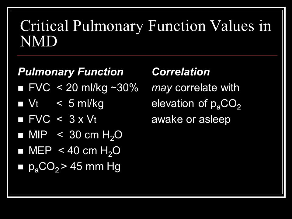 Critical Pulmonary Function Values in NMD Pulmonary Function FVC < 20 ml/kg ~30% V t < 5 ml/kg FVC < 3 x V t MIP < 30 cm H 2 O MEP < 40 cm H 2 O p a CO 2 > 45 mm Hg Correlation may correlate with elevation of p a CO 2 awake or asleep