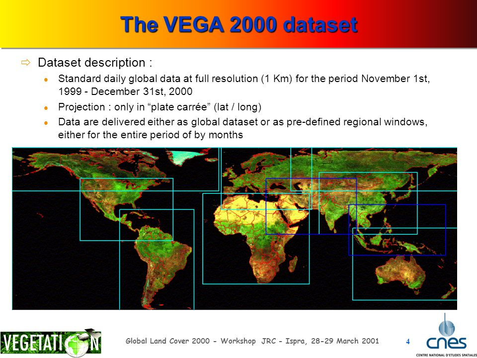 4 Global Land Cover 2000 - Workshop JRC - Ispra, 28-29 March 2001 The VEGA 2000 dataset  Dataset description : Standard daily global data at full res