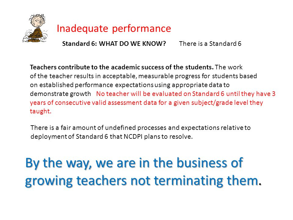 Inadequate performance Standard 6: WHAT DO WE KNOW There is a Standard 6 Teachers contribute to the academic success of the students.