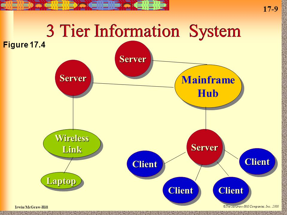 17-9 Irwin/McGraw-Hill ©The McGraw-Hill Companies, Inc., 2000 3 Tier Information System ServerServerServerServerServerServer ClientClient ClientClient ClientClient ClientClient Mainframe Hub Mainframe Hub WirelessLinkWirelessLink LaptopLaptop Figure 17.4
