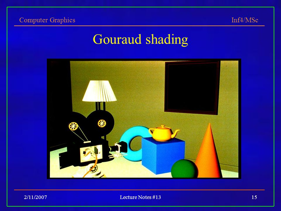 Computer Graphics Inf4/MSc 2/11/2007Lecture Notes #1315 Gouraud shading