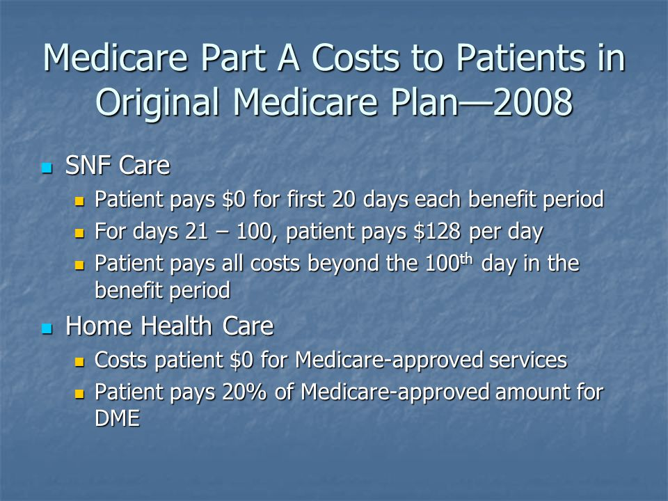 Medicare Part A Costs to Patients in Original Medicare Plan—2008 SNF Care SNF Care Patient pays $0 for first 20 days each benefit period Patient pays $0 for first 20 days each benefit period For days 21 – 100, patient pays $128 per day For days 21 – 100, patient pays $128 per day Patient pays all costs beyond the 100 th day in the benefit period Patient pays all costs beyond the 100 th day in the benefit period Home Health Care Home Health Care Costs patient $0 for Medicare-approved services Costs patient $0 for Medicare-approved services Patient pays 20% of Medicare-approved amount for DME Patient pays 20% of Medicare-approved amount for DME