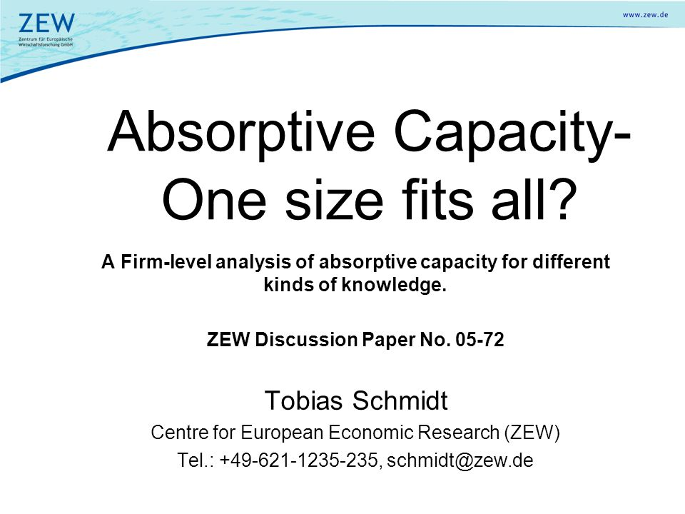 Absorptive Capacity- One size fits all? A Firm-level analysis of absorptive capacity for different kinds of knowledge. ZEW Discussion Paper No. 05-72