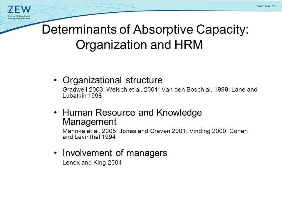Organizational structure Gradwell 2003; Welsch et al. 2001; Van den Bosch al. 1999; Lane and Lubatkin 1998 Human Resource and Knowledge Management Mah