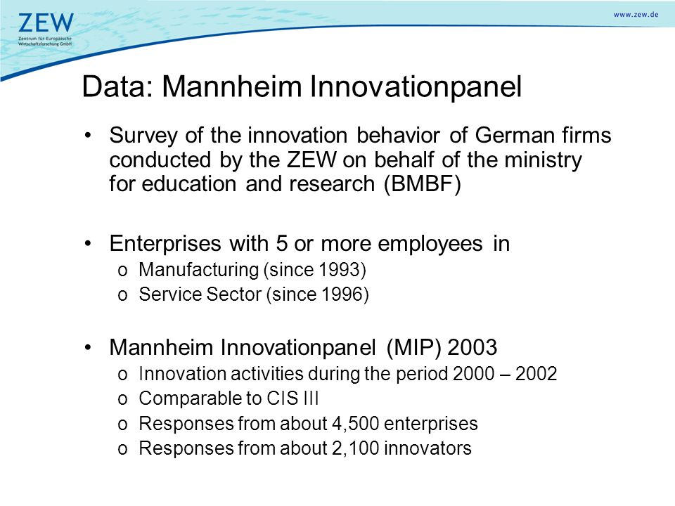Data: Mannheim Innovationpanel Survey of the innovation behavior of German firms conducted by the ZEW on behalf of the ministry for education and rese