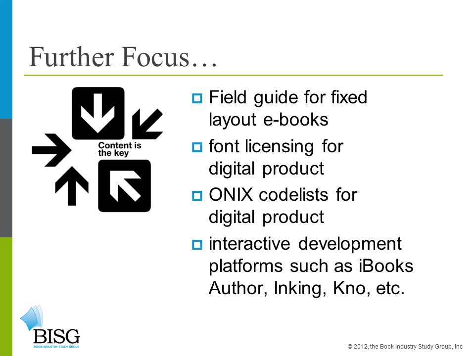 Further Focus…  Field guide for fixed layout e-books  font licensing for digital product  ONIX codelists for digital product  interactive development platforms such as iBooks Author, Inking, Kno, etc.