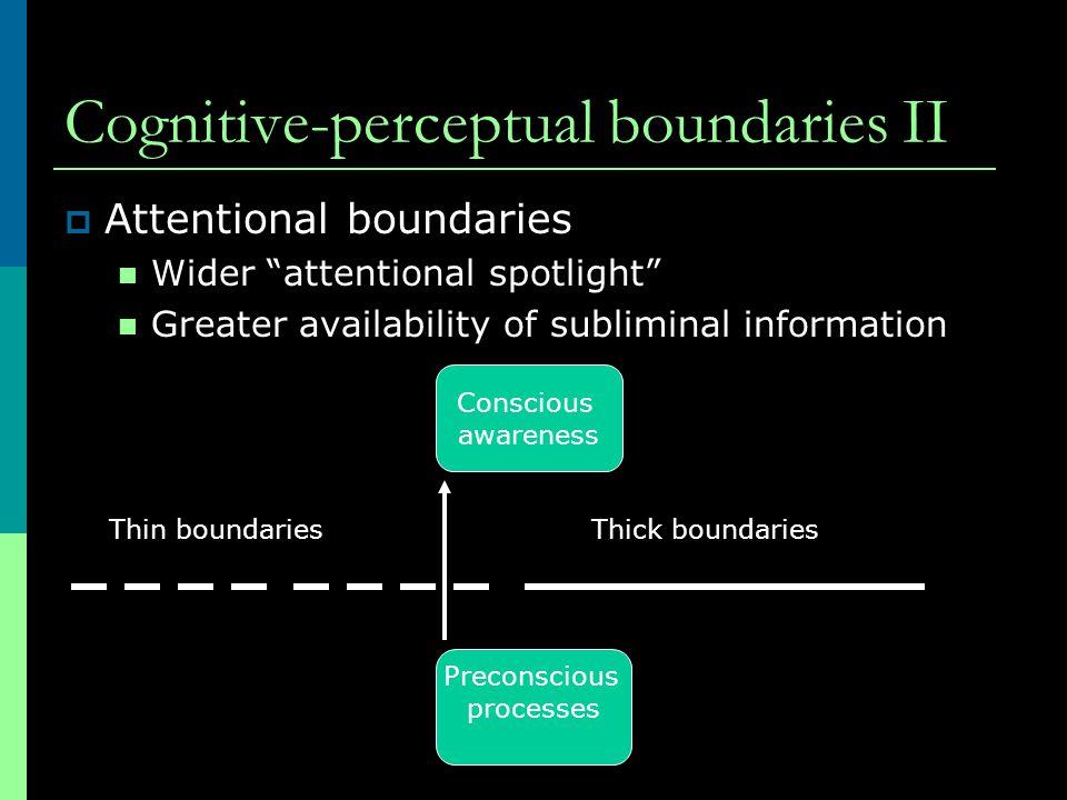 "Cognitive-perceptual boundaries II  Attentional boundaries Wider ""attentional spotlight"" Greater availability of subliminal information Thin boundari"